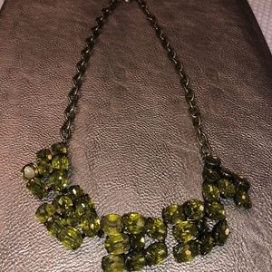 J Crew Green Crystal Necklace